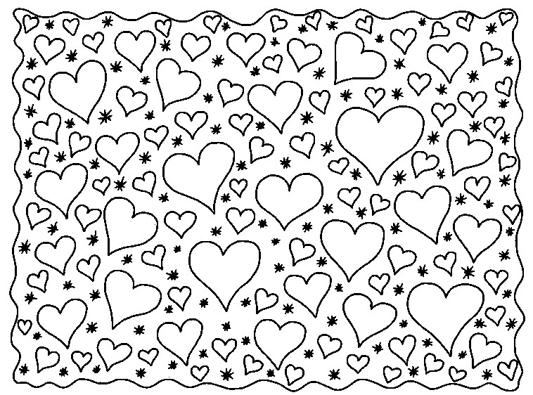 Valentine Coloring Pages - Page of Hearts