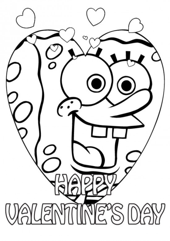 valentine coloring pages spongebob
