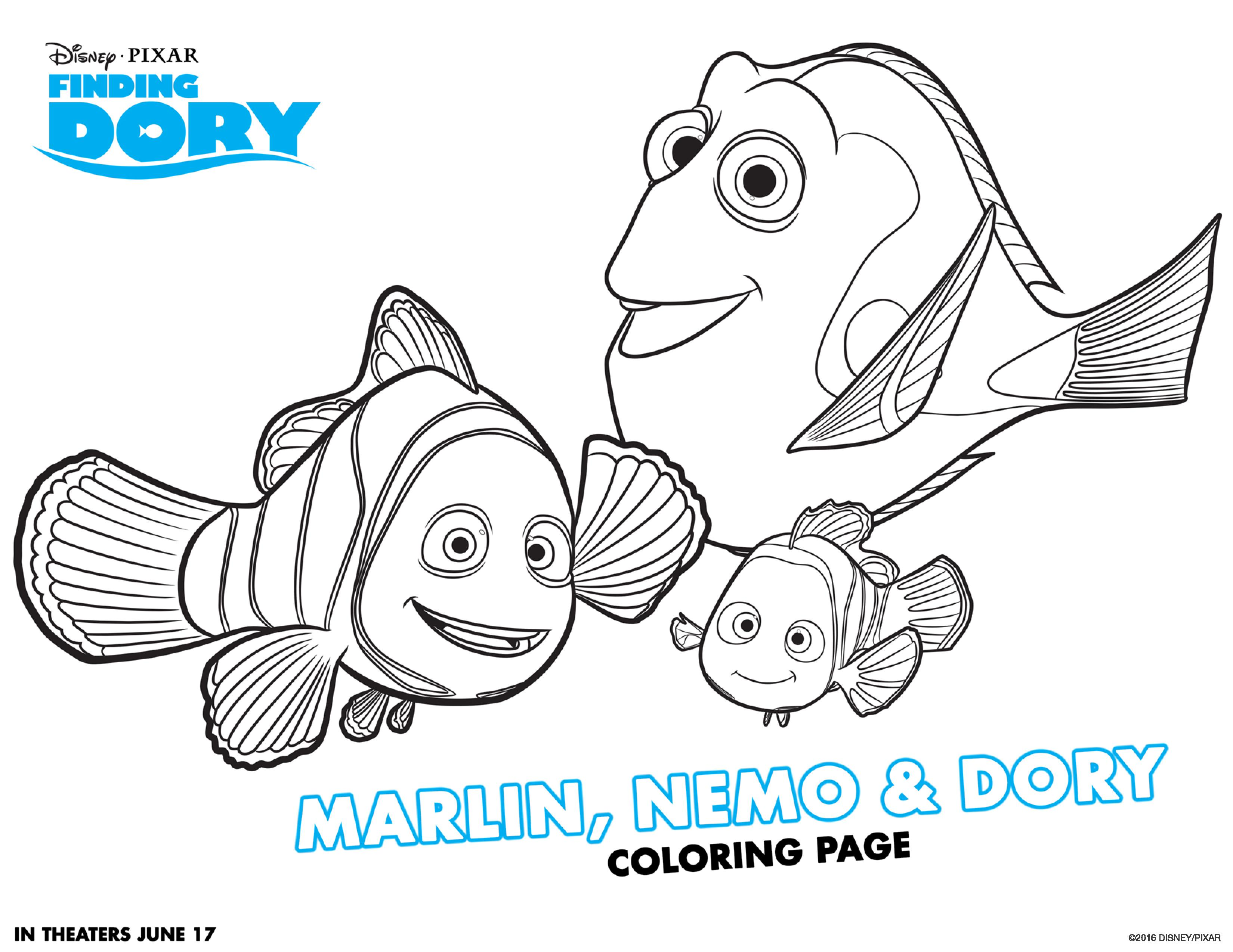 Coloring pages baby otters - Marlin Neemo And Dory Coloring Page