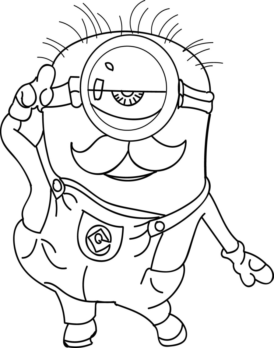 Peaceful image with printable minion coloring page
