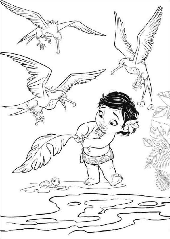 Baby Moana Coloring Page