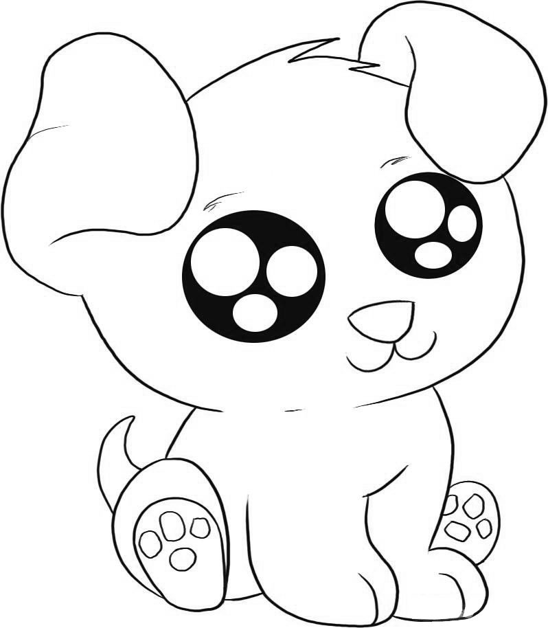 Big eyed Puppy Coloring Pages