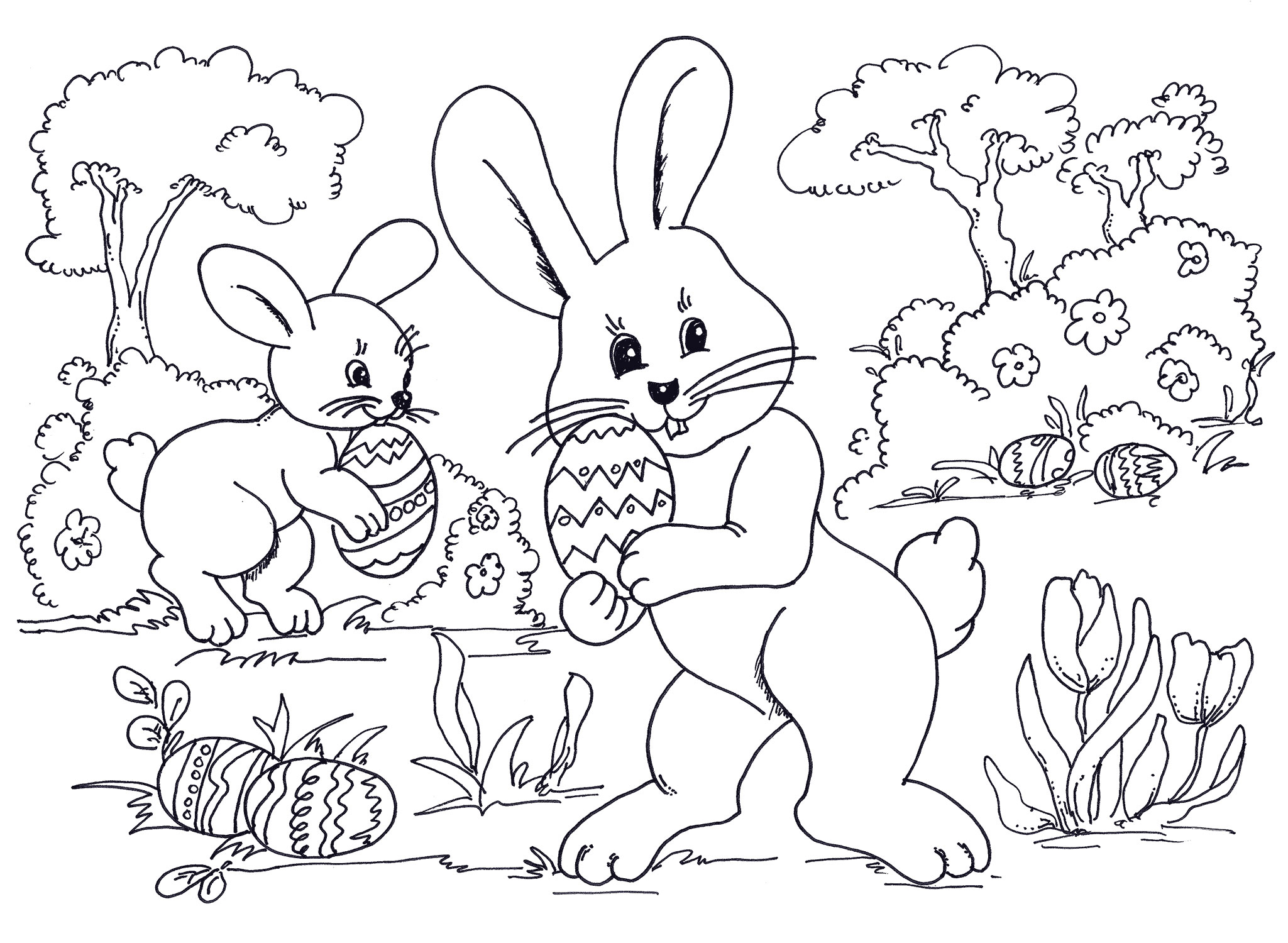Printable coloring pages bunnies - Easter Coloring Pages Bunnies