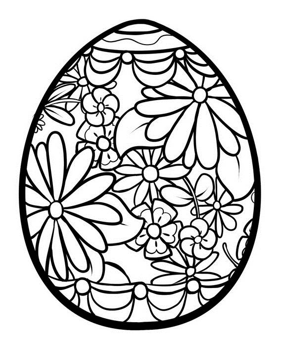 Easter Coloring Pages Floral Egg