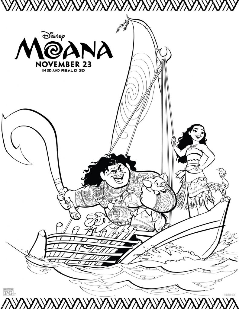 Free Printable Moana Coloring Pages - Maui and Moana