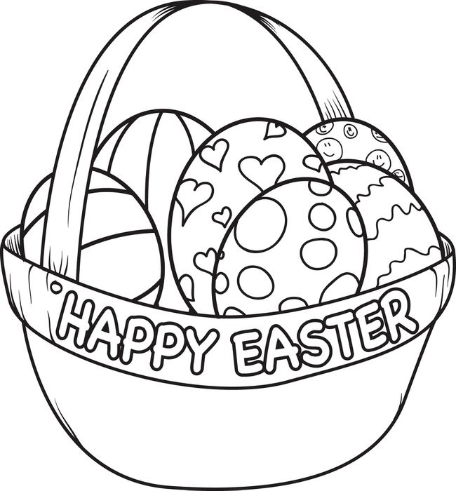 Happy Easter Basket Coloring Pages