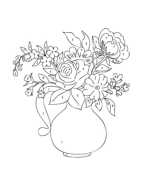 Colouring Pages Of Flowers In Vase : Adult color by numbers best coloring pages for kids