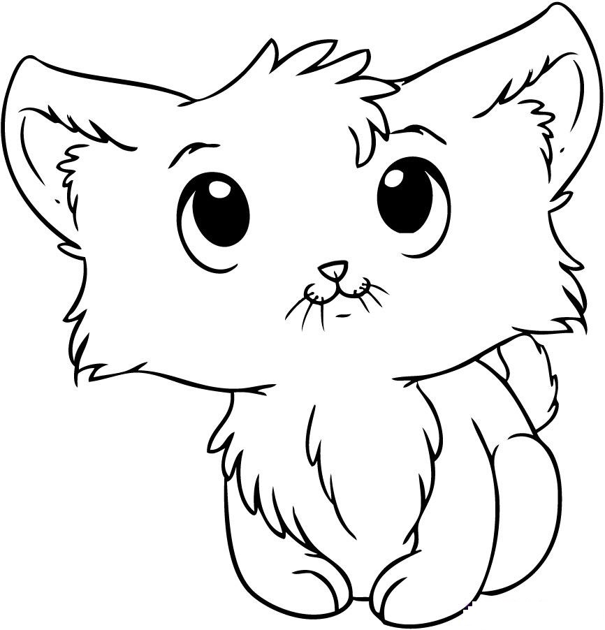 cute kitty coloring pages - photo#4