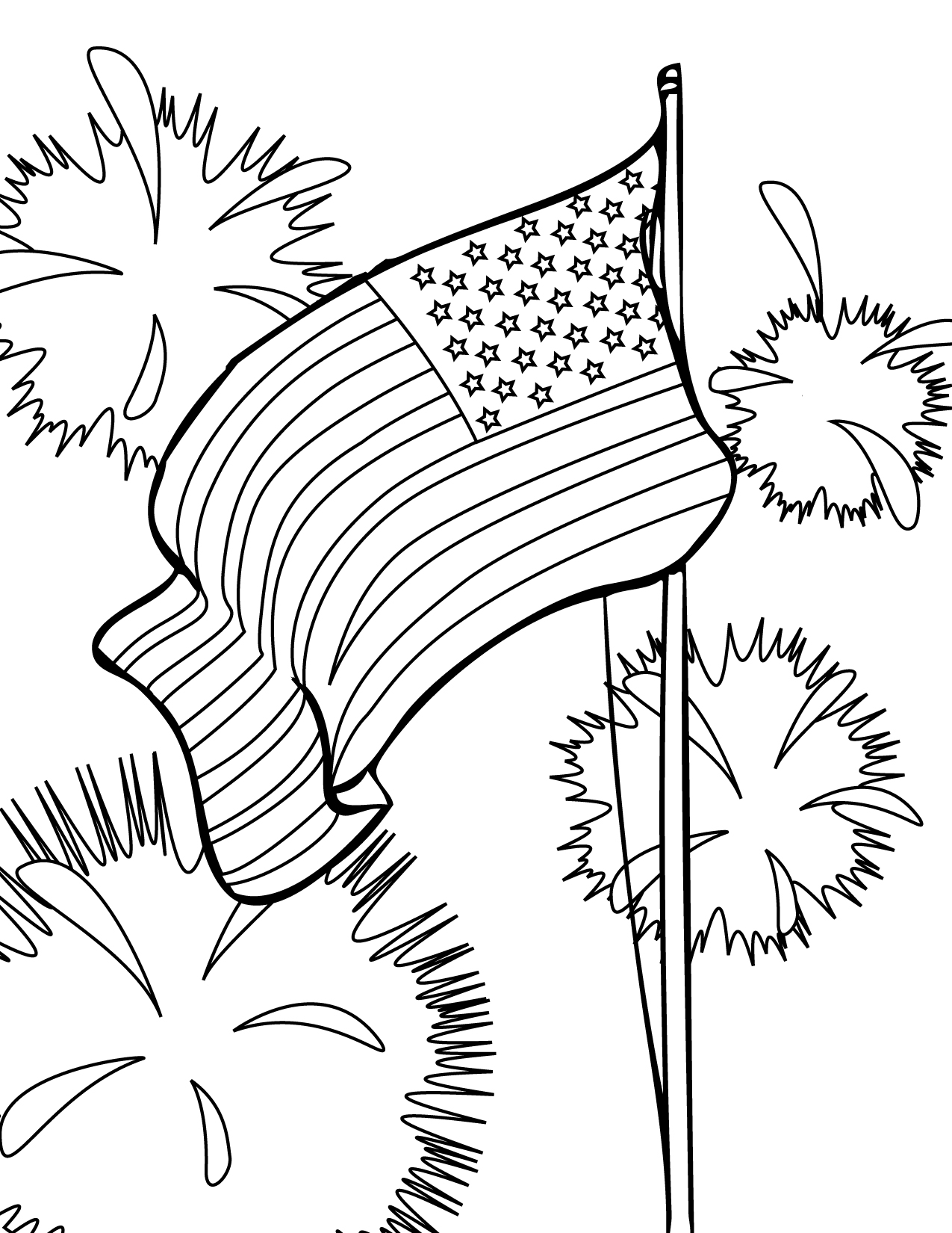 Free coloring pages fourth of july - 4th Of July Coloring Pages American Flag