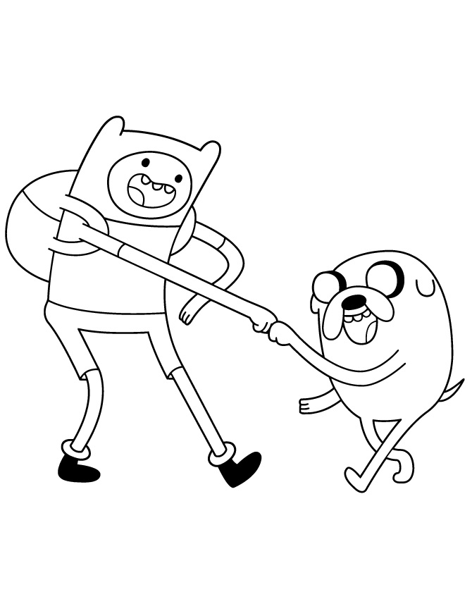 Adventure Time Coloring Pages Finn and Jake Fistbump