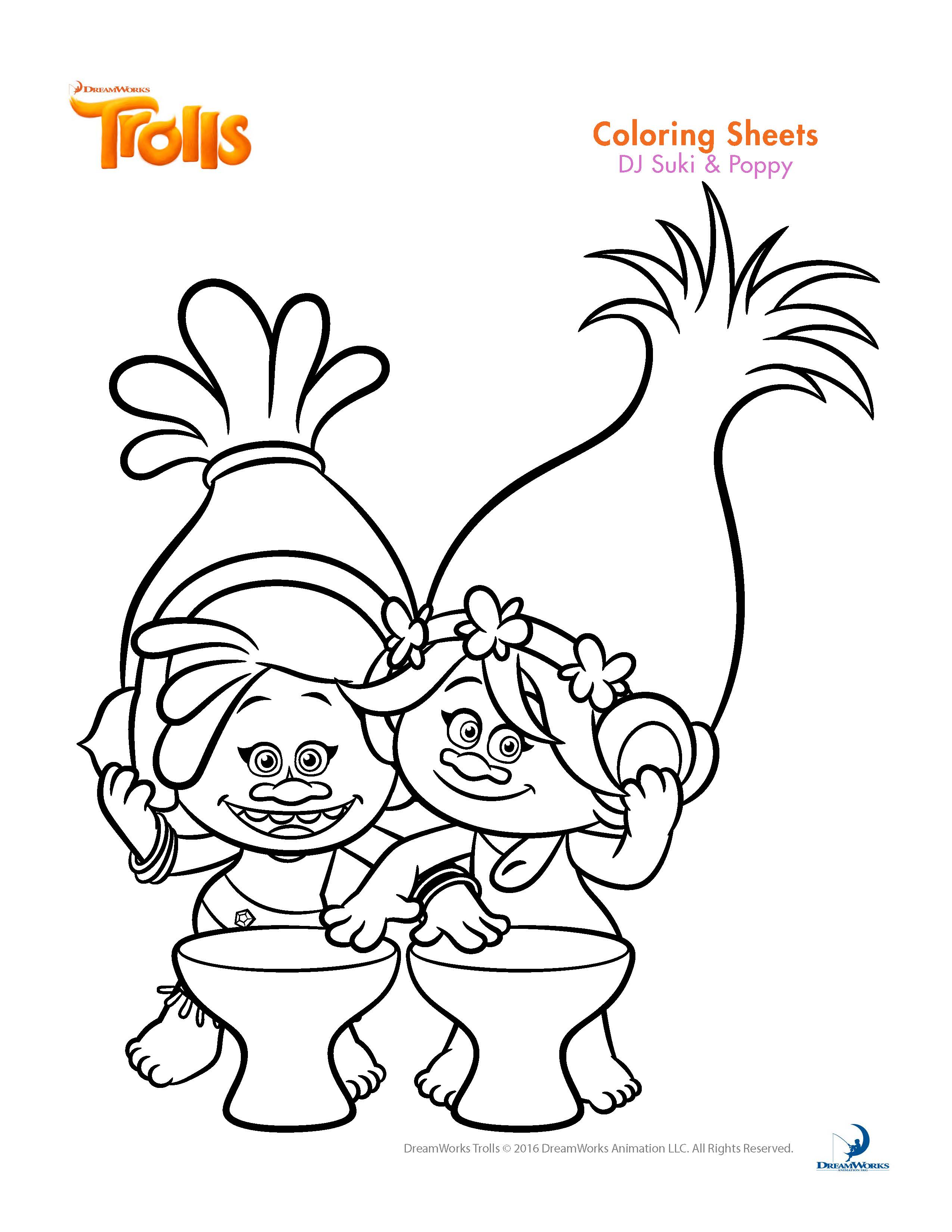 Printable coloring pages trolls - Dreamwork Trolls Coloring Pages