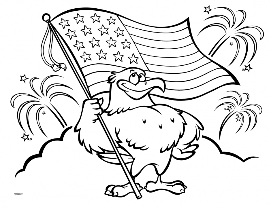 coloring pages eagle with flag - photo#5