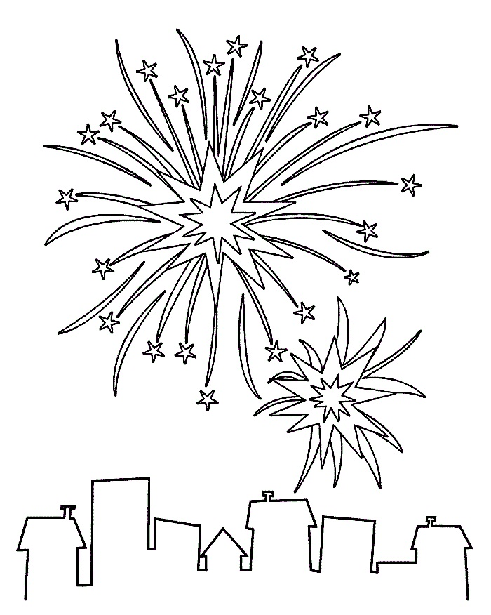 free 4th of july coloring page printables - Firework Coloring Pages Printable