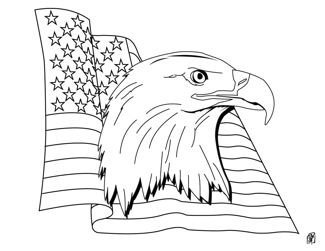 coloring pages eagle with flag - photo#18