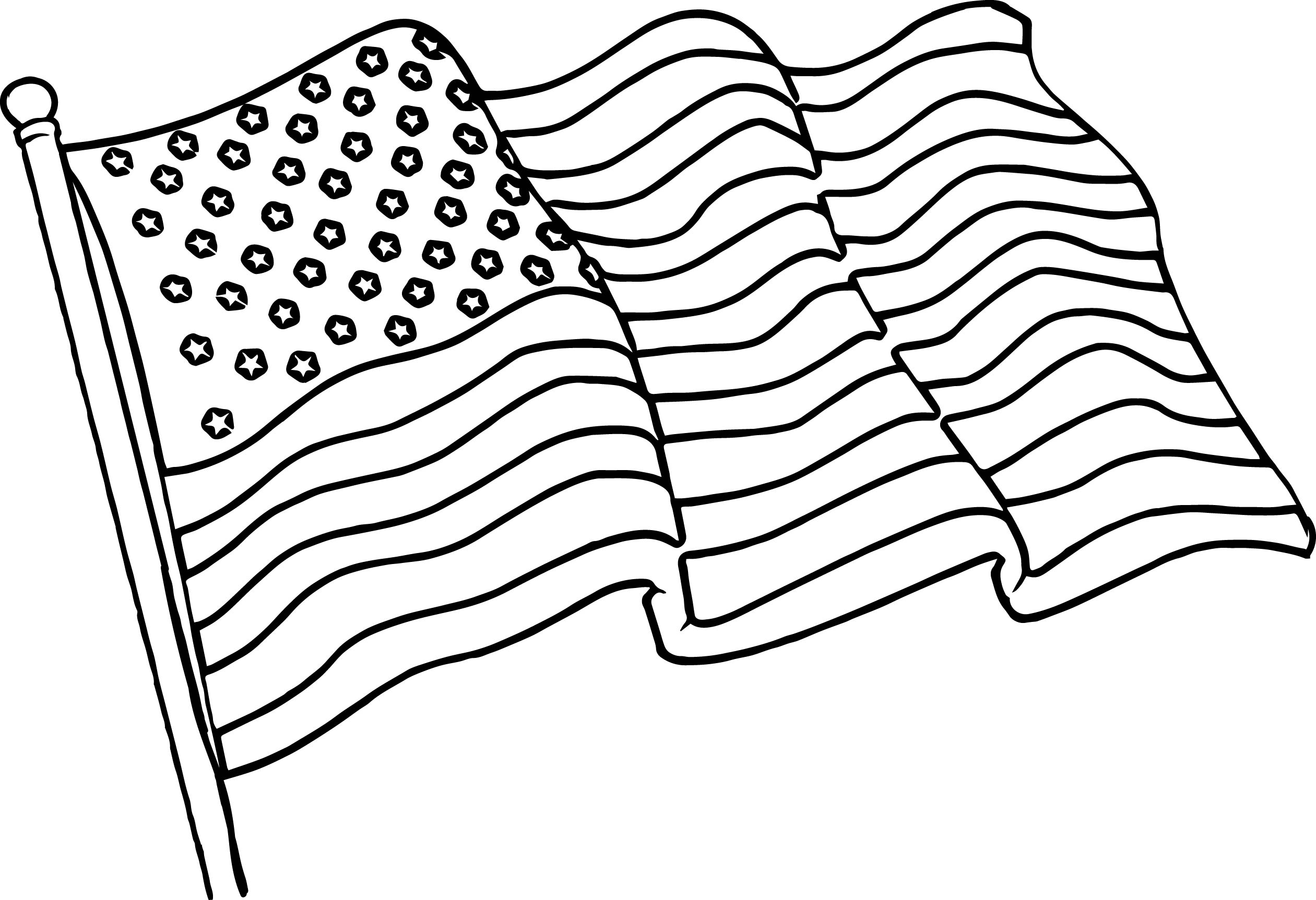 Elegant Print American Flag Coloring Pages