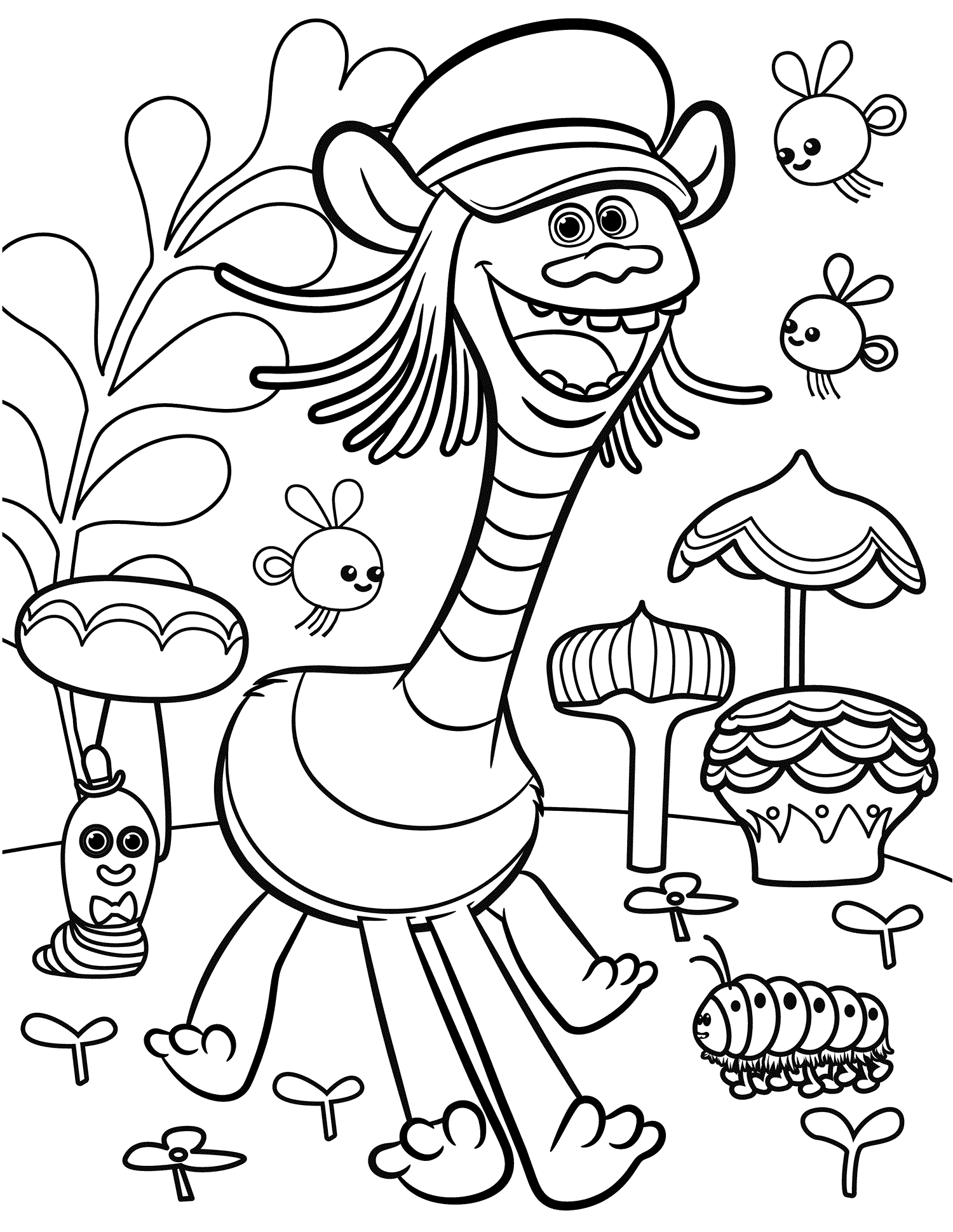Trolls movie coloring pages best coloring pages for kids for Free color page printables
