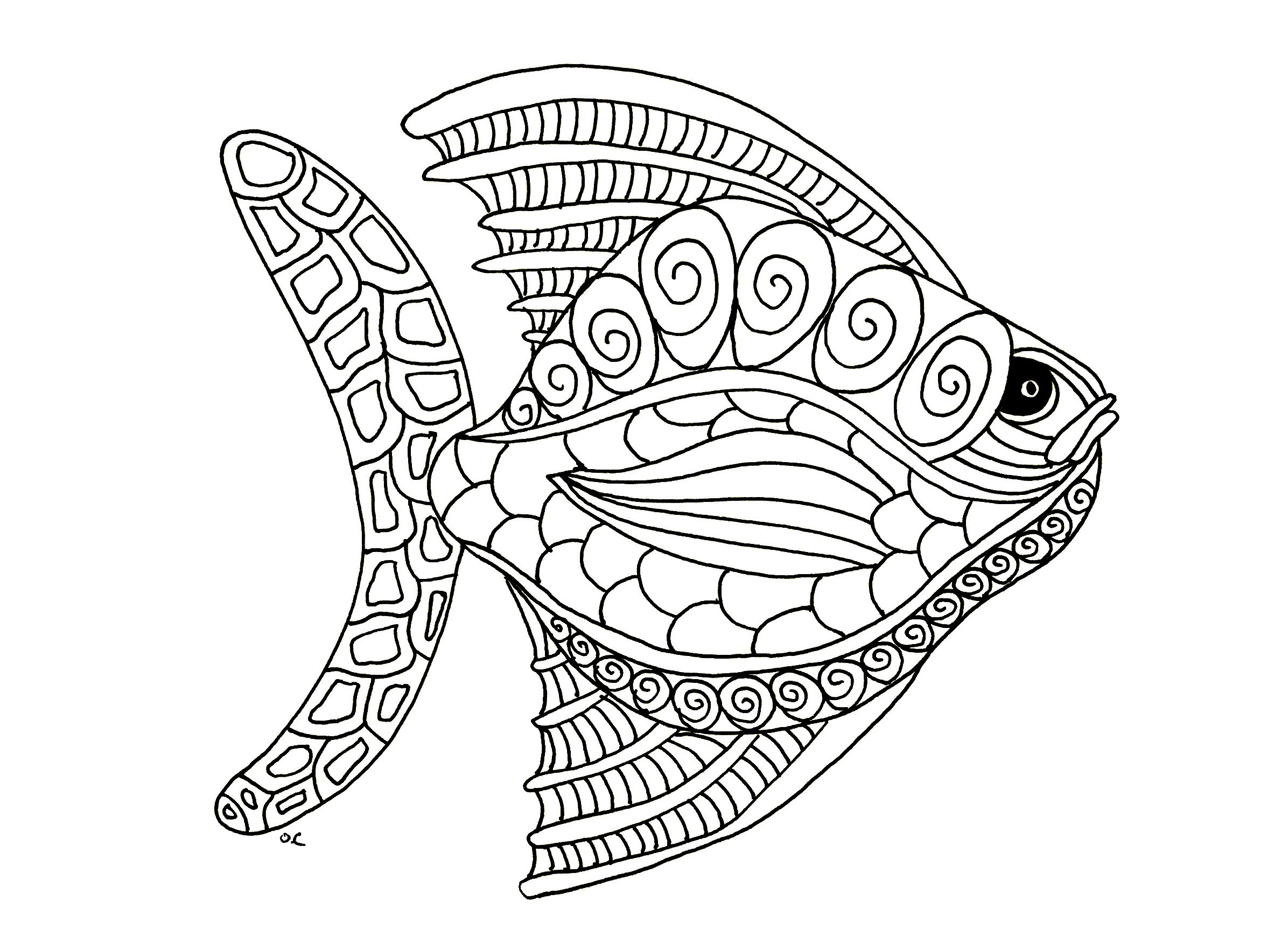 Animal coloring pages for adults best coloring pages for for Color pages of fish