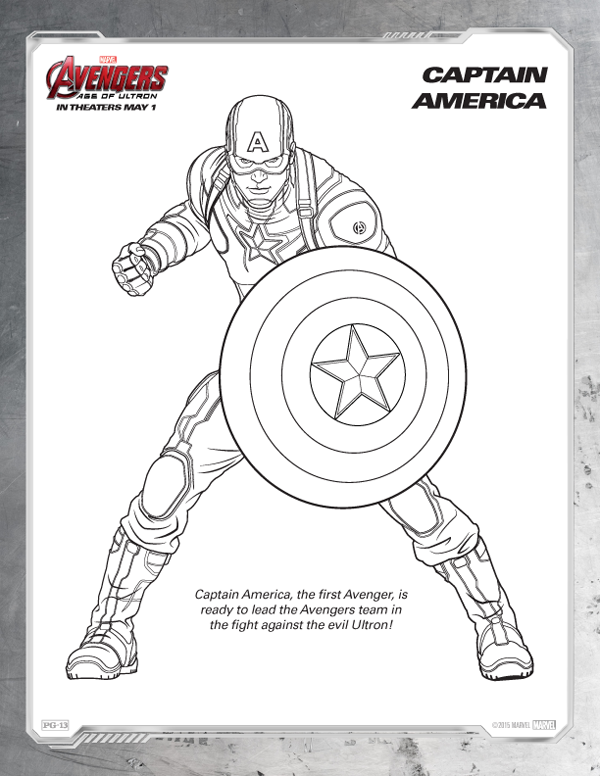 Avengers Coloring Pages - Free Captain America