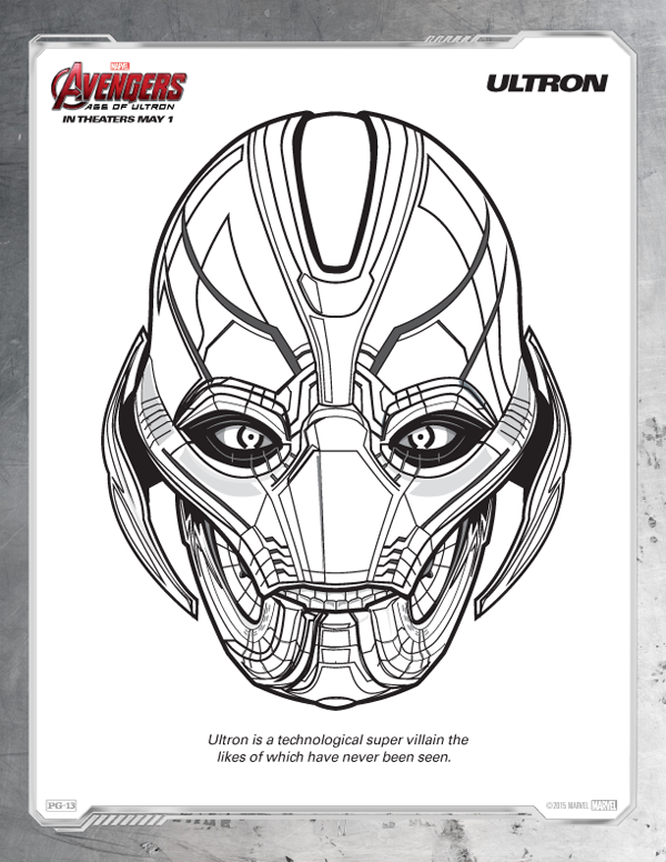 avengers coloring pages free ultron - Marvel Coloring Pages