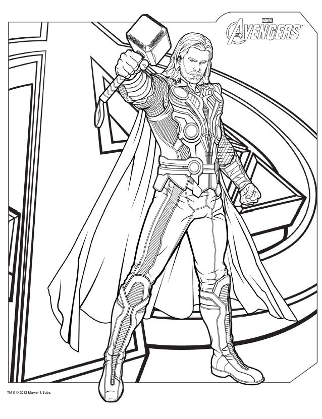 avengers coloring pages thor