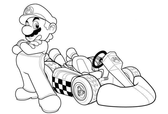 download mario kart coloring page printables - Mario Kart Coloring Pages