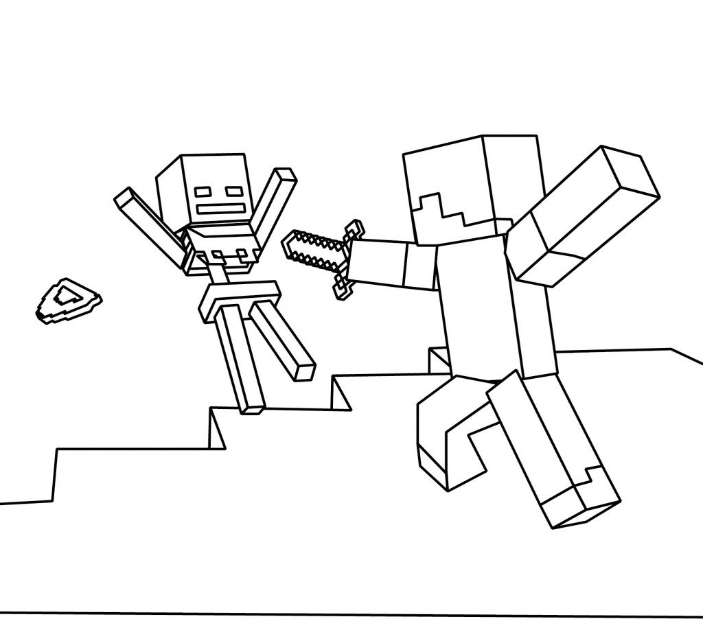 minecraft coloring pages fight - Coloring Pages Minecraft