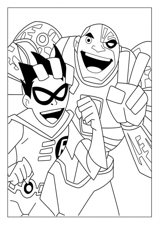 Teen Titans Coloring Pages - Cyborg and Nightwing