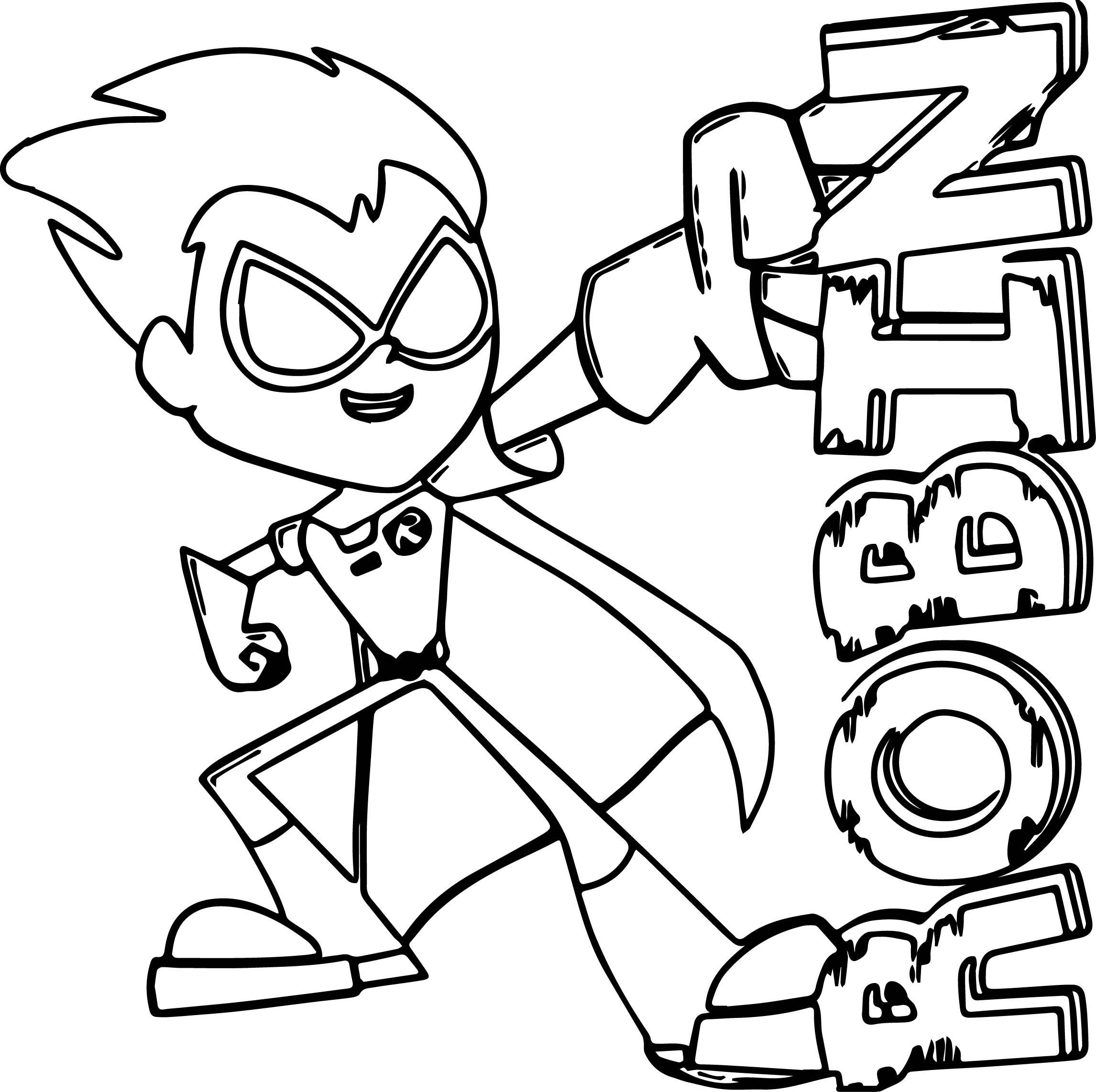 Printable coloring pages robin - Teen Titans Coloring Pages Robin