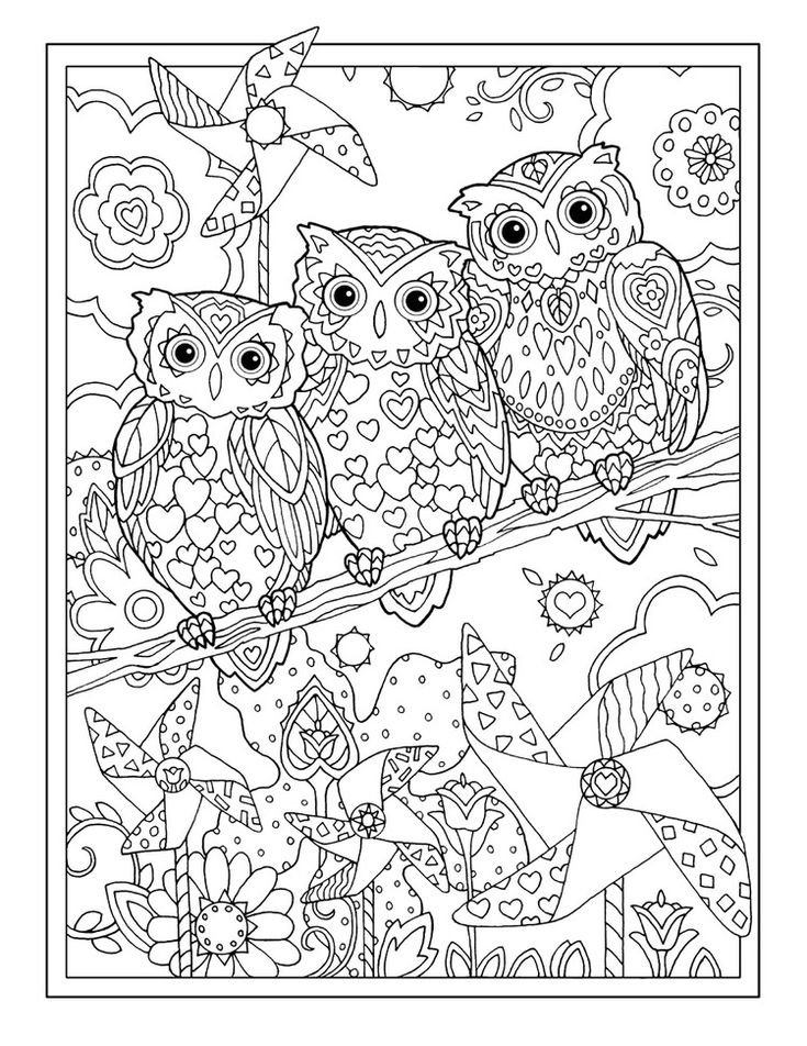 Complex Owl Coloring Pages for Adults Free
