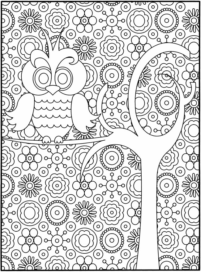 detailed owl coloring pages for adults - Fun Coloring Pages For Kids