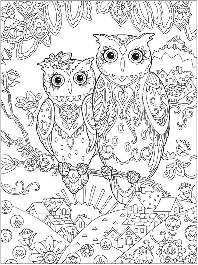detailed owl coloring pages - Colouring Pages Print