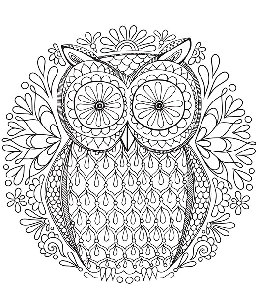 difficult owl coloring pages