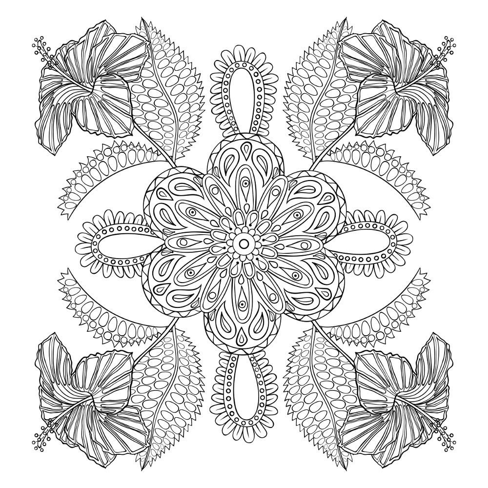 flower coloring page for adults printables - Coloring Pages Adult