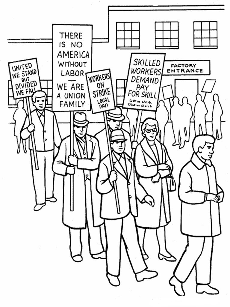 Labor Day Coloring Pages History Strike