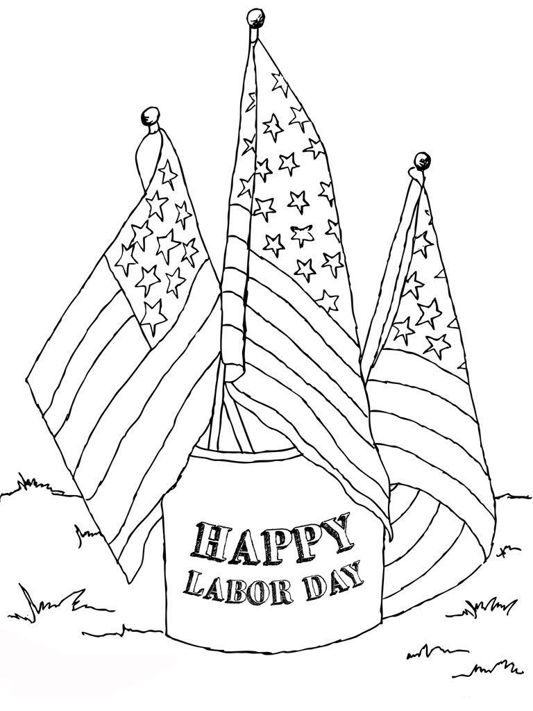 Labor Day Coloring Pages Printable Flags