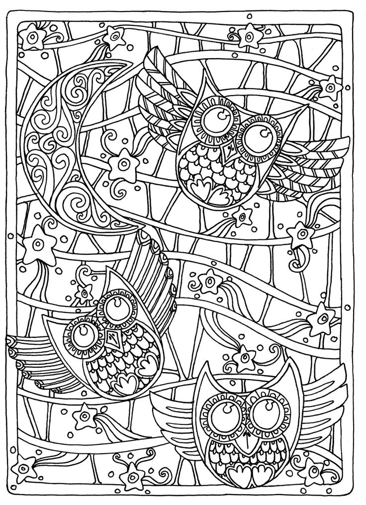 Printable Complex Owl Coloring Pages for Adults