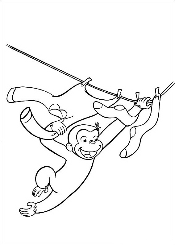 Curious George Coloring Pages Clothesline