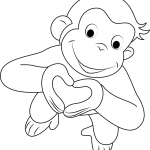 Curious George Coloring Pages Heart