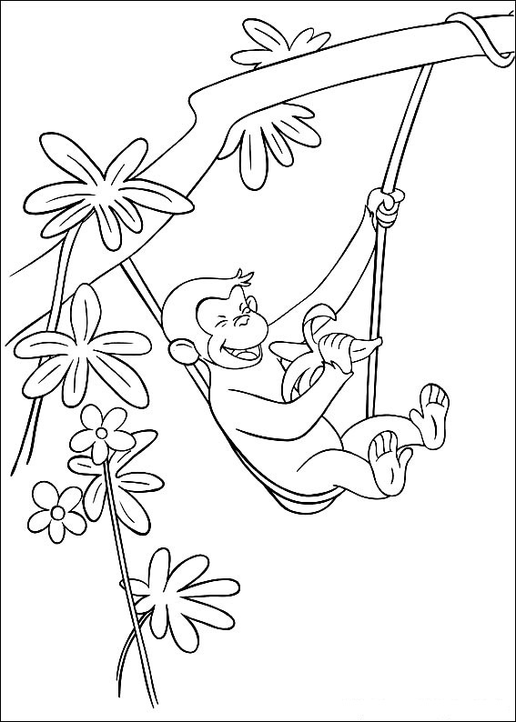 Curious George Coloring Pages Trees