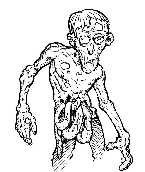 Gross Zombie - Scary Coloring Pages