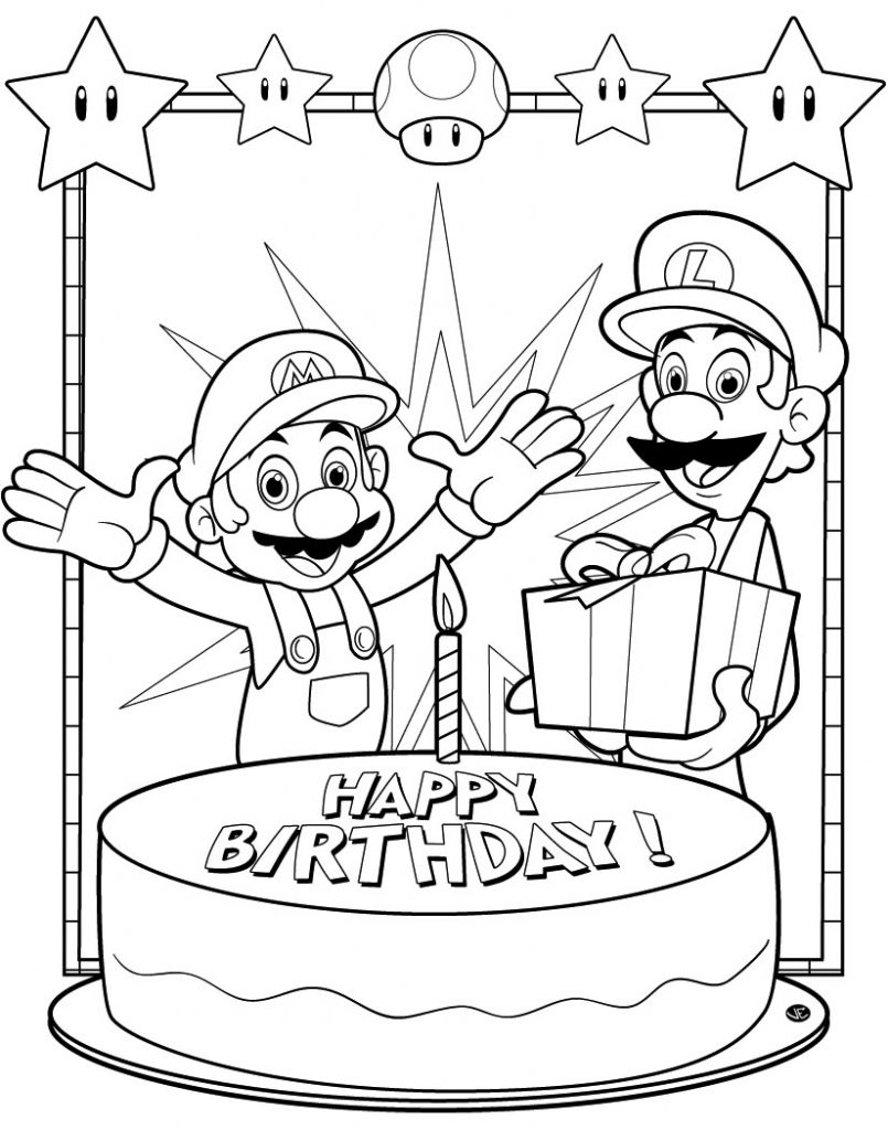 Happy Birthday - Super Mario Coloring Pages