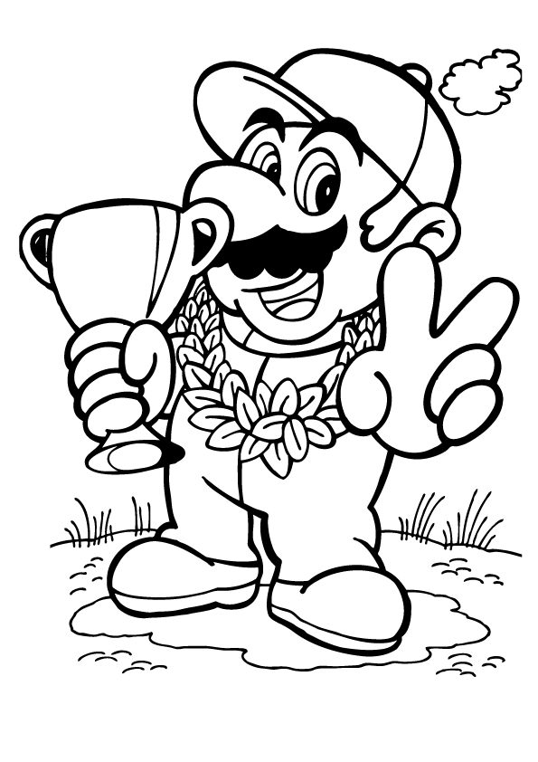 Mario Wins - Super Mario Coloring Pages