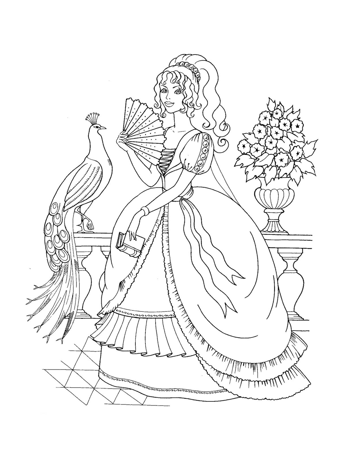 Princess Anna With A Crown Coloring Pages