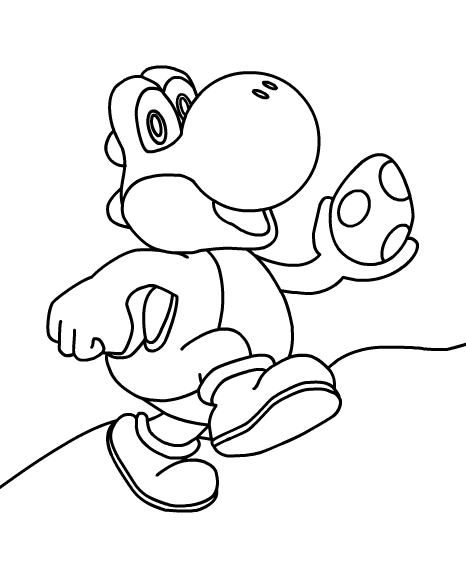 Yoshi and egg - Super Mario Coloring Pages