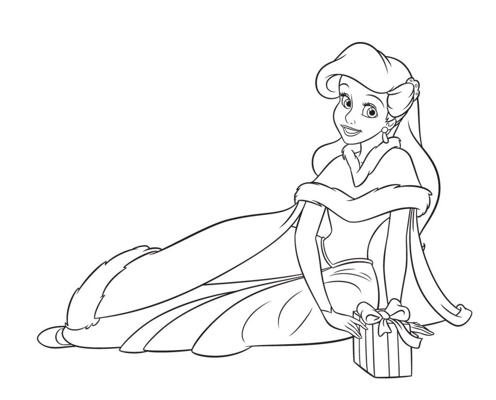 Ariel - Disney Christmas Coloring Pages