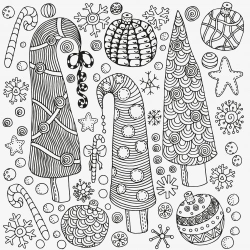 Christmas Trees - Christmas Coloring Pages for Adults