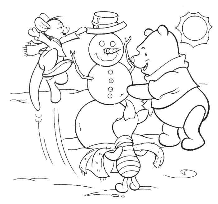 Pooh Snowman - Disney Christmas Coloring Pages