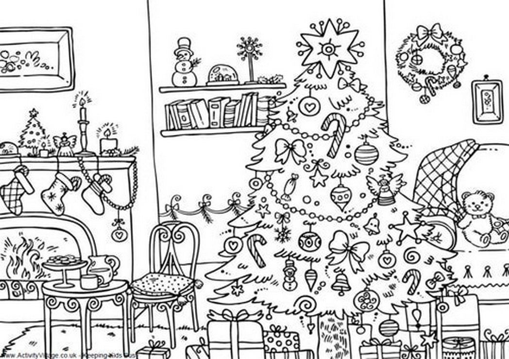 decorations christmas coloring pages for adults - Christmas Coloring Decorations