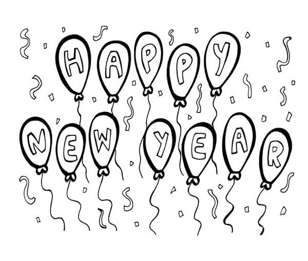 Balloons - Happy New Year Coloring Page