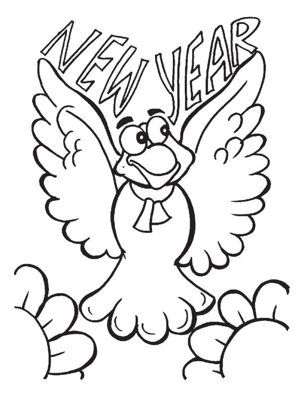 Bird Happy New Year Coloring Pages
